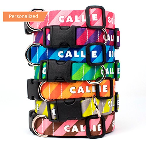 Buttonsmith Custom Personalized Stripes Dog Collar - Permanently Bonded Printing Process, Military Grade Rustproof Buckle, Resistant to Odors & Mildew, Choice of 5 Sizes, 100% Made in USA