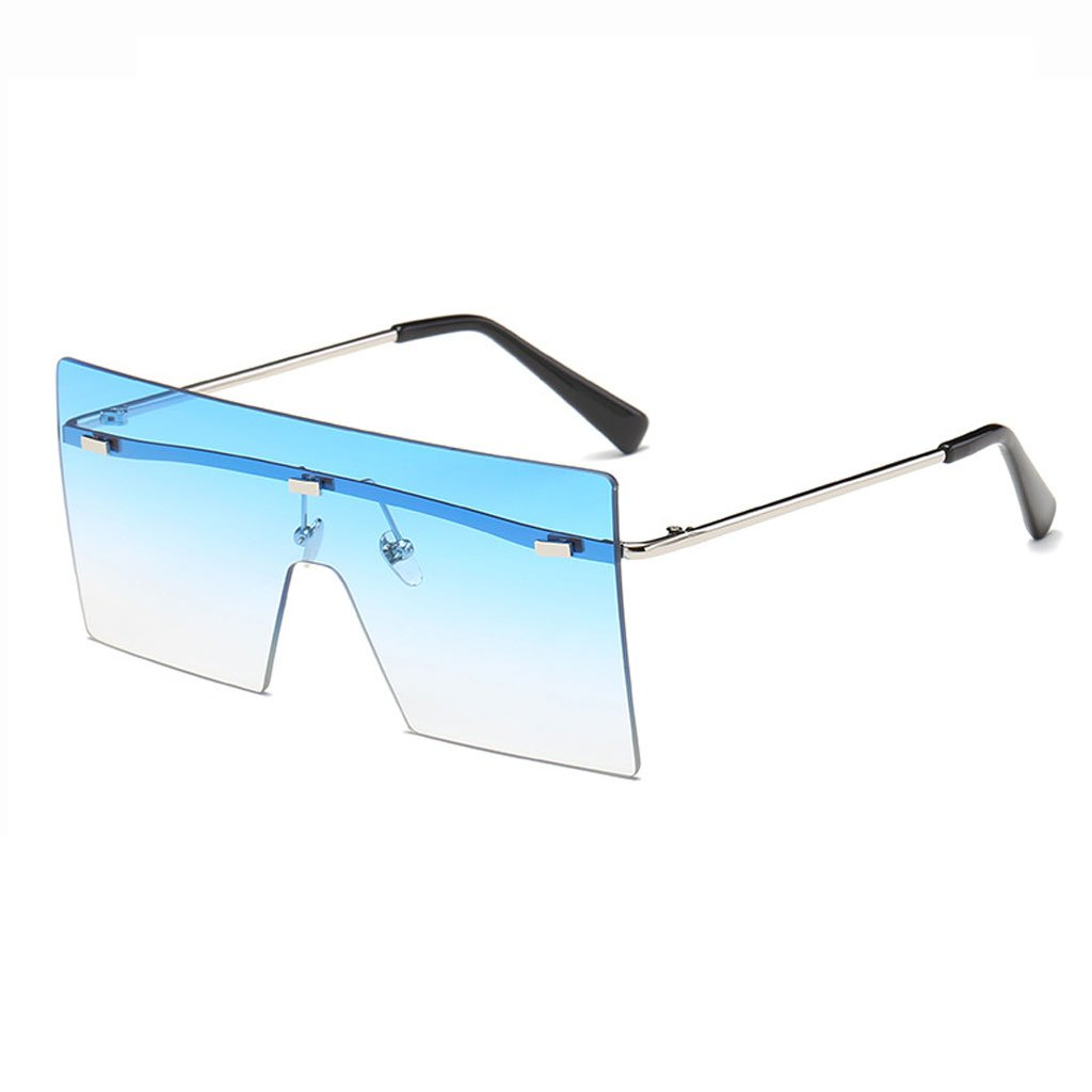 bluee Sunglasses, Sunglasses Frameless Siamese Fashion Marine Lens Outdoor Hiking Photography AntiUV Radiation Glasses Polarized Shade Glasses (color   bluee)