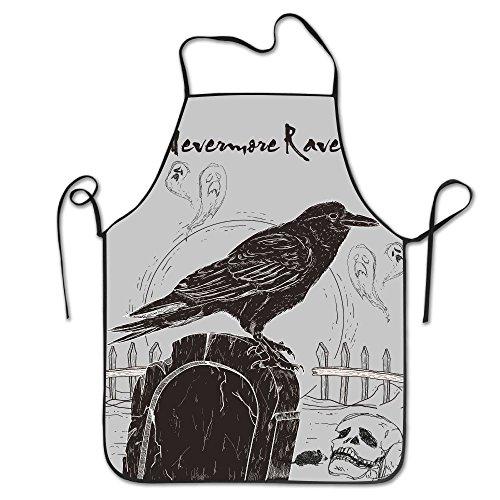 Nevermore Raven Costume (Nevermore Raven Black Bird Halloween Spooky 1 Apron Cool Pattern Apron Burlap Polyester Women FRICSTAR)