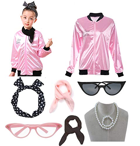 1950s Child Pink Ladies Satin Jacket T Bird Danny Halloween Costume Outfit -