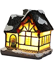 simhoa Christmas Winter Snow Landscape Village Houses with LED Light Up Christmas - Style 2