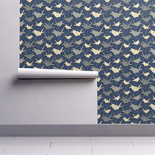 Removable Water-Activated Wallpaper - Origami Origami Japanese Art Navy Origami Japanese Good Luck Hiroshima Crane by Marketa Stengl - 24in x 96in Smooth Textured Water-Activated Wallpaper Roll