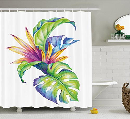 Plant Shower Curtain by Ambesonne, Tropical Leaves and Monstera with Abstract Color Scheme Hawaiian Floral Elements, Fabric Bathroom Decor Set with Hooks, 70 Inches, (Tropical Color Schemes)