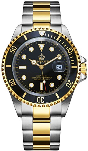 PASOY Mens Watch Black Luminous Dial Sapphire Glass Stainless Steel Rotatable Bezel (Gold Bezel Watch)
