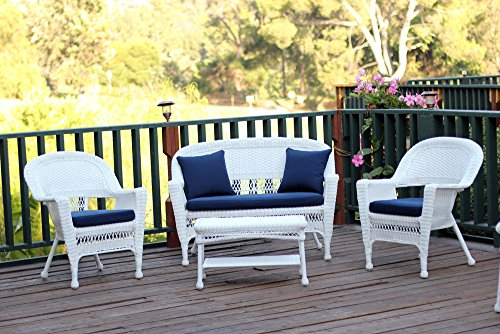 Jeco W00206-G-FS011 4 Piece Wicker Conversation Set with Navy Blue Cushions, White (White Set Furniture Wicker)