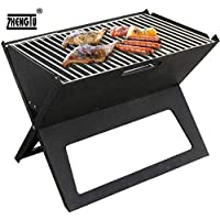 ZHENGTU Stainless Steel Barbeque Charcoal Grill Foldable Crystal Plate Oven Portable Briefcase Note Book Size BBQ (Black)