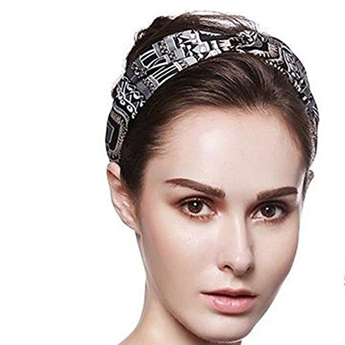Challyhope Elastic Yoga Headbands Sweat Wicking Turban Twisted Knotted Printed Hair Bands Accessories (one-Size, Black)