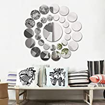 Clearance!! ZOMUSA 31 Pcs Round Mirror Wall Sticker Acrylic Surface Decal Home Room DIY Art Decor (Silver)