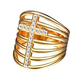Stackable Cross Ring/Statement Ring/Wide Ring Gold Plated Crystal Cross Ring For Her, Size 8