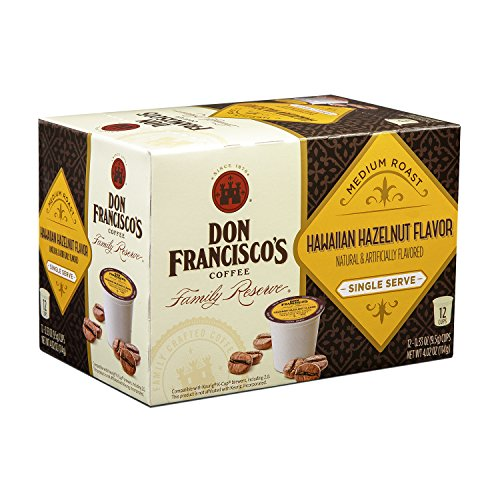 Don Franciscos Hawaiian Hazelnut, Premium 100% Arabica, Flavored, Medium-Roast, Single-Serve Pods, Family Reserve, 12-Count (Pack of 6, 72 Total)