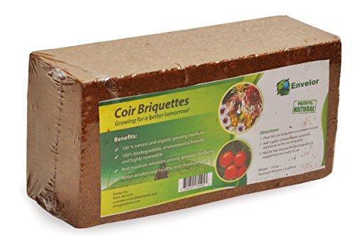 Envelor Home and Garden Organic Coco Coir Growing Medium Coconut Fiber Potting, Coco Fiber Mulch, Coco Briquette (1.5 lb Coir Briquette)