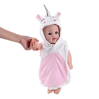 3df26878a914c Alvivi Déguisement Bébé Fille Garçon Body Pyjama Blanche Licorne  Grenouillère à Capuche Cartoon Animal Combinaison Casual Déguisement Cadeau  Noël ...