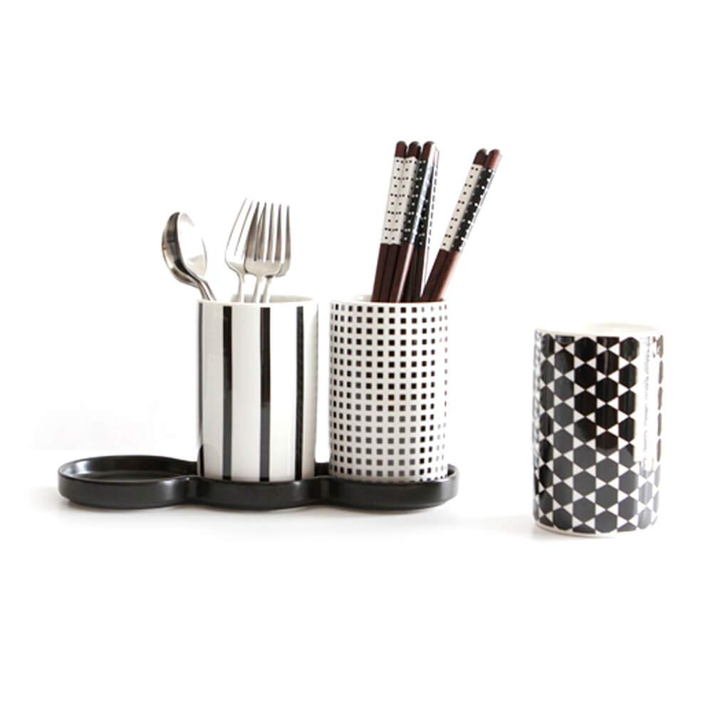 Kamome Kitchen Porcelain Tabletop Flatware Caddy Cutlery Organizer, White and Black, Set of 3