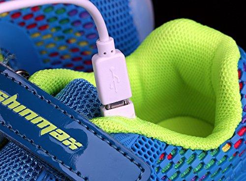 Shinmax LED Zapatos, Primavera-Verano-Otoño Transpirable Zapatillas LED 7 Colores Recargables Luz Zapatos de Deporte de Zapatillas con Luces Para Niños Niñas con CE Certificado Azul Claro