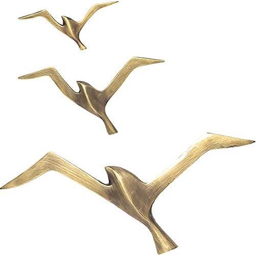 WINGOFFLY Premium Quality Pure Copper Metal 3D Seagull Bird Wall Art Ornament Wall Sculpture Bronze 3PCS Set