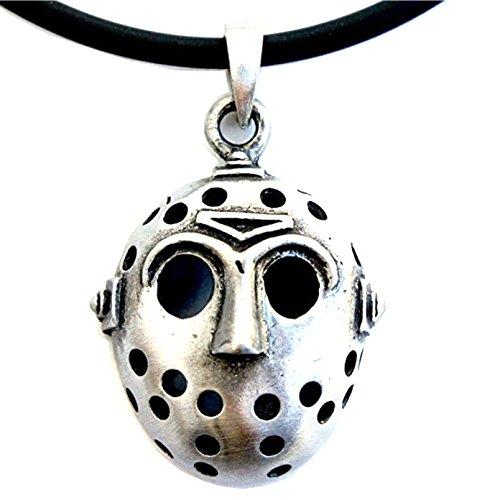 FRIDAY THE 13TH HORROR Jason Hockey Mask Pewter Pendant W Black Vinyl Cord -