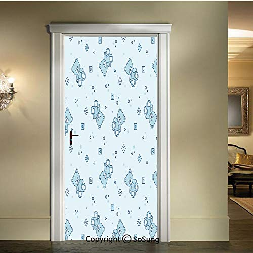 baihemiya 3D Door Wallpaper Stickers,Teddy-Bears-and-Toys-with-Letters-on-Children-Imagery-Baby-Blue-Background,W30.3xL78.7inch,Suitable for Any Dry,Flat surfaceBaby-Blue-Aqua