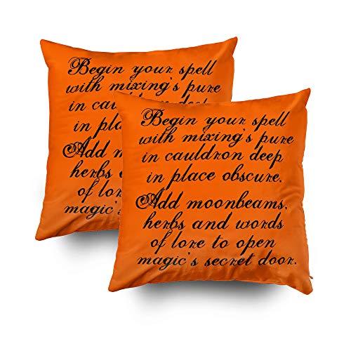 TOMWISH 2 Packs Hidden Zippered Pillowcase Halloween Reversible Original Poem Text 16X16Inch,Decorative Throw Custom Cotton Pillow Case Cushion Cover for Home