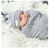 Woombie Cotton Double Knot Beanie Hats, Heathered Grey, 0-6m