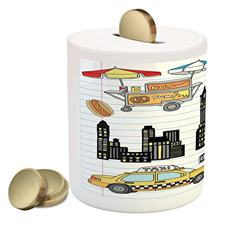 New York Dog Design - Ambesonne Doodle Piggy Bank by, New York City Manhattan Statue of Liberty The Big Apple Hot Dog Stand Sketch Style, Printed Ceramic Coin Bank Money Box for Cash Saving, Multicolor