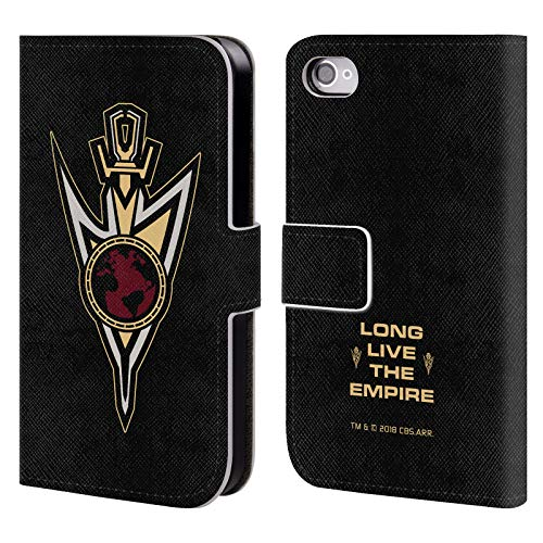 Official Star Trek Discovery Terran Empire Badge Mirror Universe Leather Book Wallet Case Cover Compatible for iPhone 4 / iPhone 4S (Star Trek Iphone 4 Case)