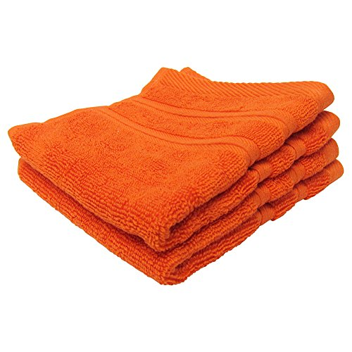 Feather and Stitch 2-Ply 2-Pack Washcloths, 100% Cotton For Absorbency and Durability, Spa Quality WashCloths, Super Soft, 13x13 Inches (Bright Orange) (Washcloths Orange)