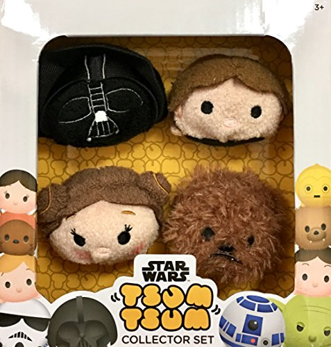 Disney TSUM TSUM Star Wars Plush Collector Set (4 pack) _Darth Vader, Han Solo, Princess Leia & Chewbacca