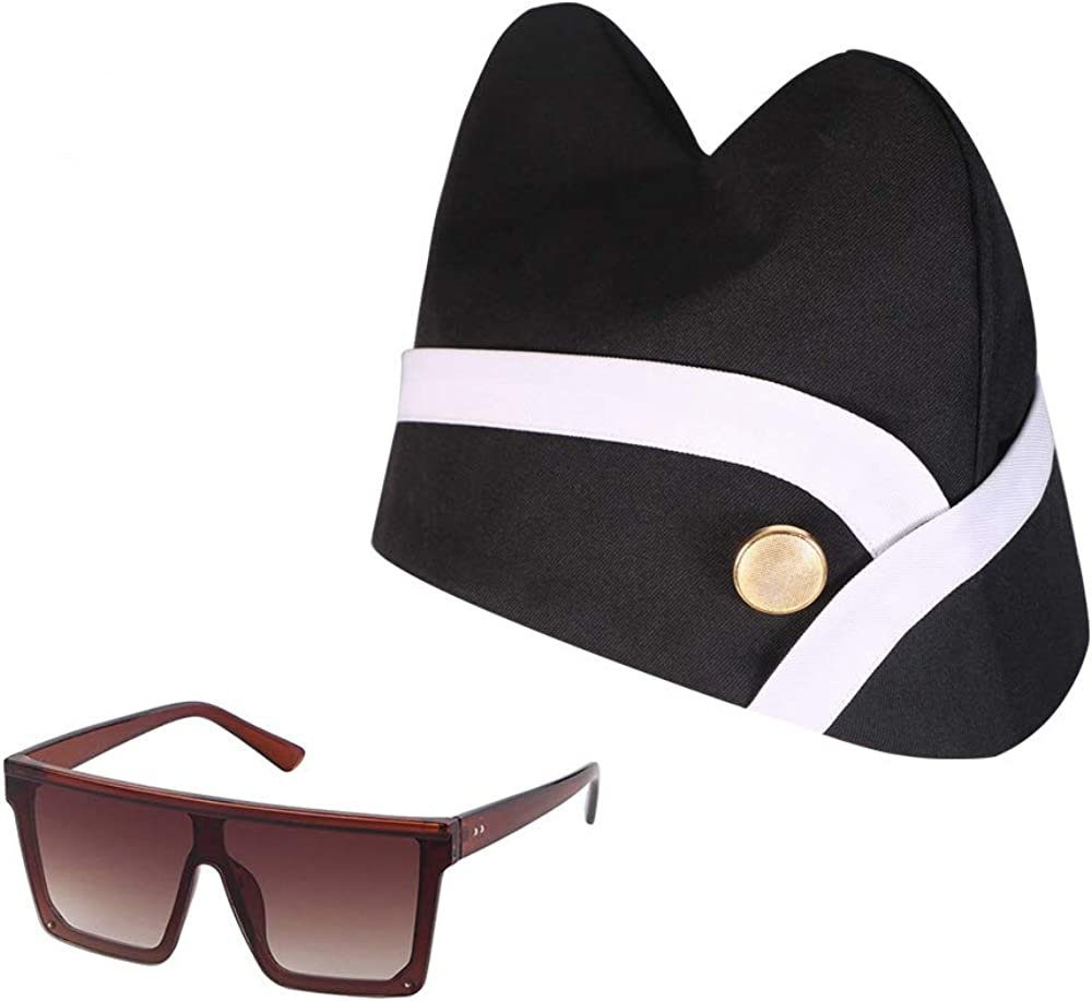 Cosplay Black Hat Glasses for Ghana Pallbearers Coffin Dance Africa Funeral Dancing Coffin Costume Props Set