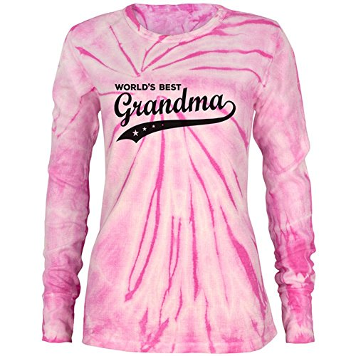 (Mother's Day World's Best Grandma Juniors Long Sleeve Thermal Shirt Pink Spiral Tie Dye MD)