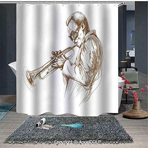 AngelDOU Jazz Music Decor Fashion Styles Printed Shower Curtain Jazz Man Playing Trumpet with a Pose Sketch Style Image Solo Show Decorative Art for Home Hotel Club Bathroom Decoration
