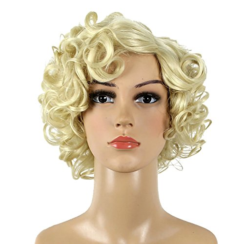 HUALIL Short Blonde Curly Hair Women Adult Loose Wavy Classic Marilyn Monroe Cosplay Wigs with Free -