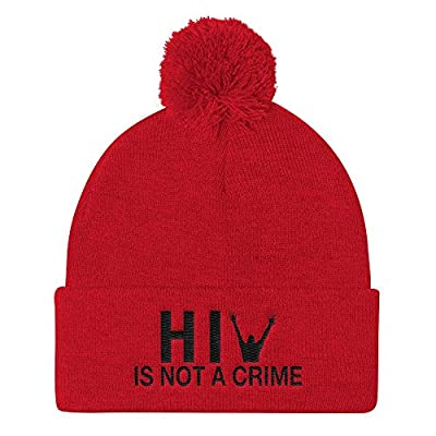 Kids and Money Today HIV is Not a Crime Pom Pom Hat Knit Beanie Cap - Embroidered One Size (Red)