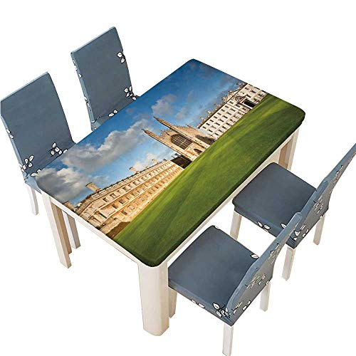 PINAFORE Indoor/Outdoor Spillproof Tablecloth Cambridge University and Kings College Chapel Wedding Restaurant Party Decoration W53 x L92.5 INCH (Elastic Edge) - Linens Texas Tech University