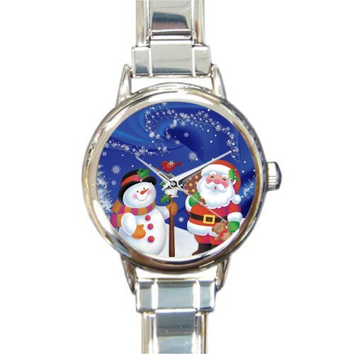 Personalized Watch Father Christmas with Snowman Round Italian Charm stainless steel Watch