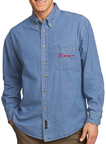 (Buy Cool Shirts Mens Dodge Demon SRT (Pocket Print) Long Sleeve Denim Shirt, XL Faded Blue)