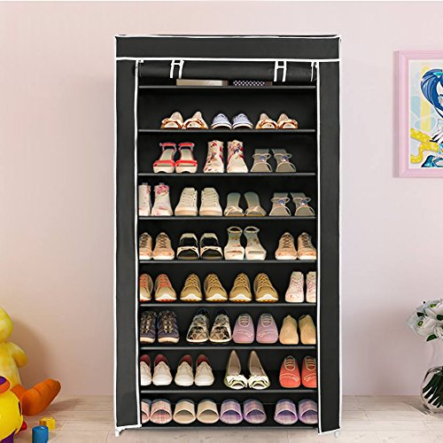 Blissun 10 Tiers Shoe Rack Shoe Storage Organizer Cabinet Tower with Non-woven Fabric Cover, Black, BLIS-A06