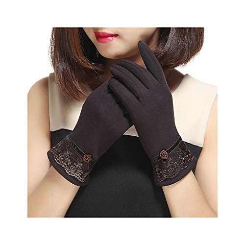 Spiritlele Magic Touch Screen Gloves Warm Telefingers Winter Texting Gloves for Women (lace black) (lace coffee)