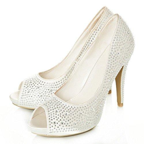 Brillante Con Diva Zapatos Miss Marfil Tacón Plateado Mujer OpZTzwSq