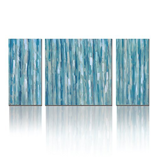 3Hdeko - Teal Blue Abstract Wall Art Turquoise Canvas Print Aqua Painting for Living Room Bedroom Bathroom Office Decor, Ready to Hang ()
