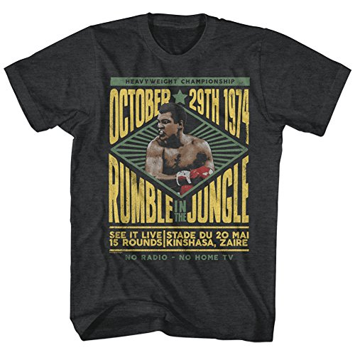 American Classics Unisex Muhammad Ali Rumble Adult Short Sleeve T-Shirt, Black Heather, XLarge