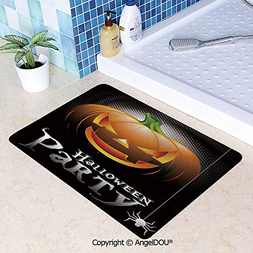 SCOXIXI Absorbent Super Cozy Rectangle Kitchen Bathroom Carpet Halloween Party Theme Scary Pumpkin on Abstract Modern Backdrop Spider Decorative Washable Porch Floor Mat Carpet.W31.5xL47.2(inch)]()