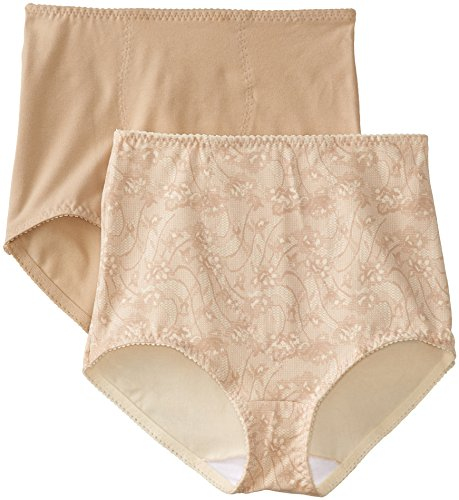 Bali Women's Smoothers Shapewear 2 Pack Cotton Brief with Light Control, Lace Flowers, X-Large
