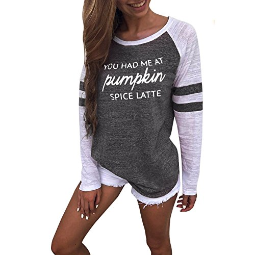 HTDBKDBK Long Sleeves for Women, Women Fashion Causal Plus Size Thanksgiving Blouse Tops Patchwork T-Shirt Tops 2019