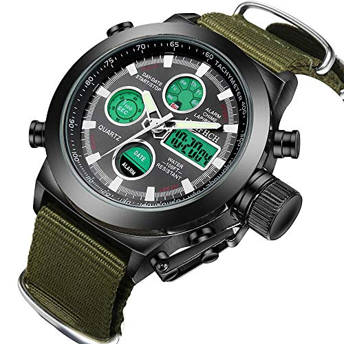 LYMFHCH Mens Black Big Face Sports Watch, LED Digital Analog Waterproof Military Luminous Stopwatch Army Green Wrist Watch price tips cheap