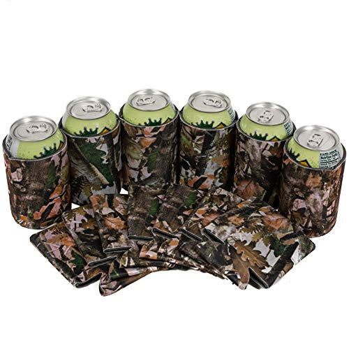 QualityPerfection 25 Forest Camo Party Drink Blank Can Coolers(12,25,50 Bulk Pack) Blank Beer,Soda Coolies Sleeves | Soft,Insulated Coolers | 30 Colors | Perfect For DIY Projects,Holidays,Events ()