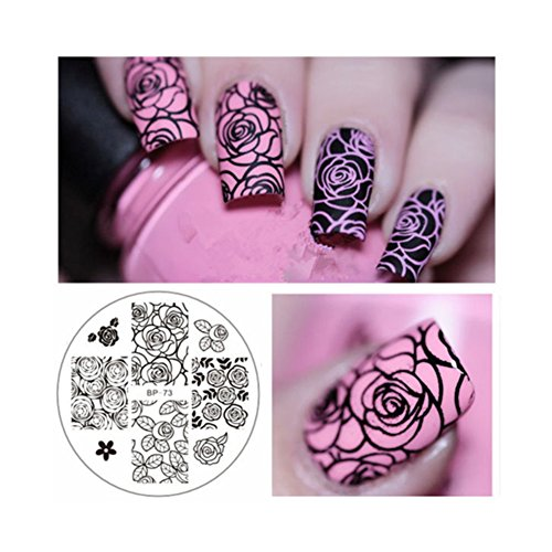 Born Pretty Nail Art Stamping Template Image Plate Rose Flower (Nail Art Roses)