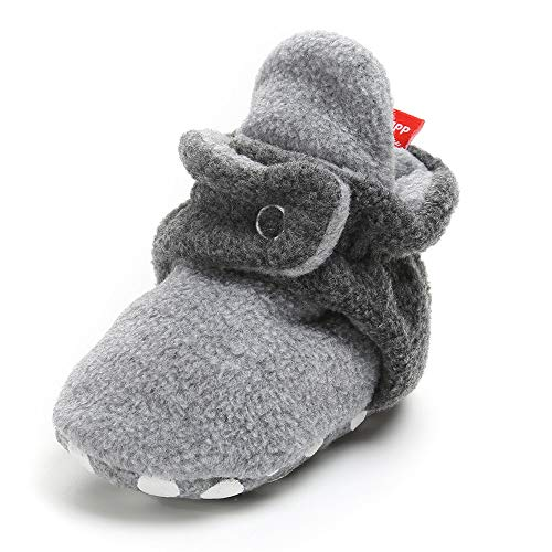 Isbasic Unisex Baby Cozie Fleece Lined Booties Non-Slip Soft Sole Infant Winter Warm Socks Shoes (Grey&Grey 6-12 Months)