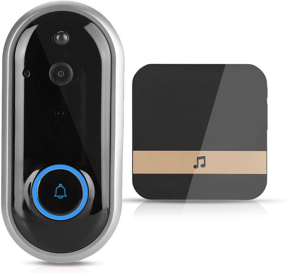 WiFi Wireless Video Doorbell, Ultra Low Power Consumption/Remote Control/Intercom Video/Alarm Monitoring/PIR Body Detection(Black 720P+Dingdong Doorbell)