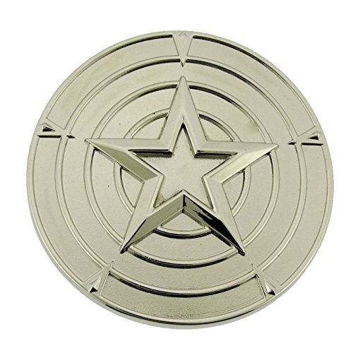 Gold America Shield (Marvel Comics Logo Captain America Belt Buckle (Shield Silver Chrome buckle Size:3.75