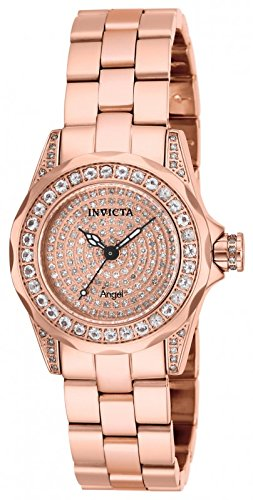 Invicta Womens Angel 1.02ctw Morganite Bezel 0.62ctw Diamond Pave Dial 18k RGP SS Watch 14495